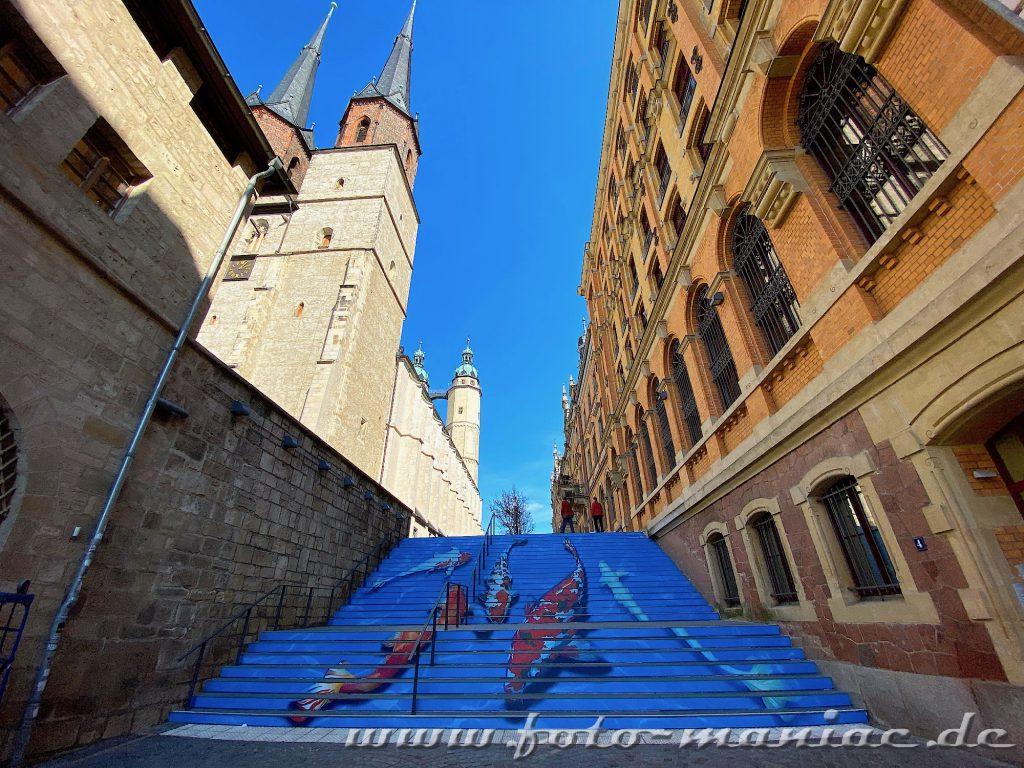 Streetart Treppe in Halle mit Koi-Bildern beklebt.