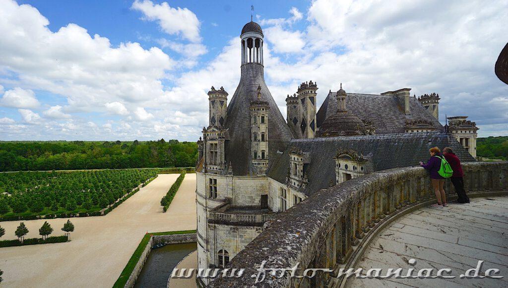 Blick in den Garten von Chateau Chambord
