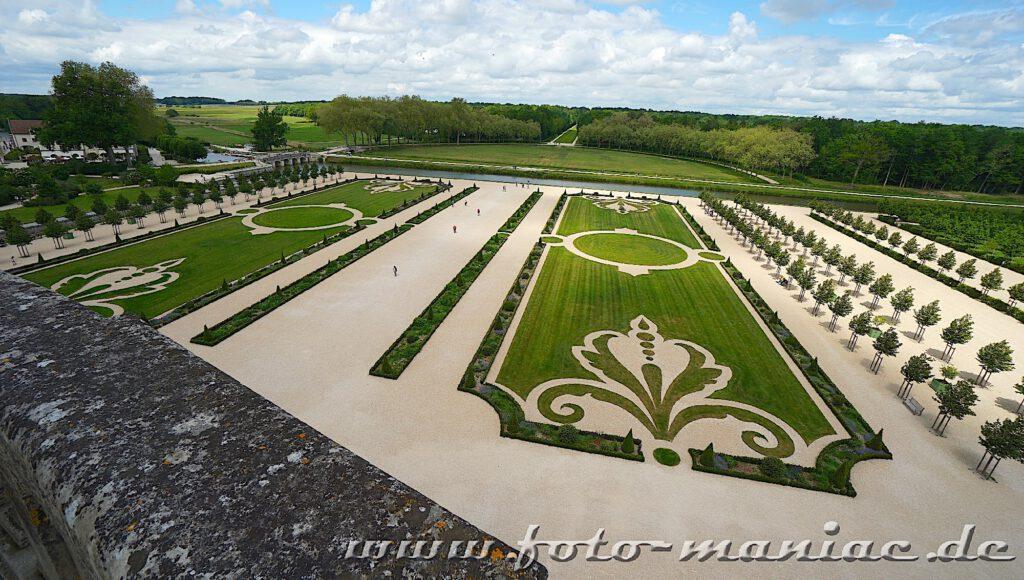 Symmetrisch angelegter Garten im Chateau Chambord