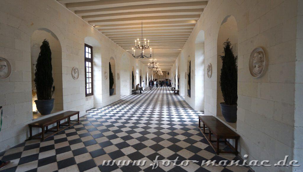 Tolle Optik: die Galerie in Chateau Chenonceau
