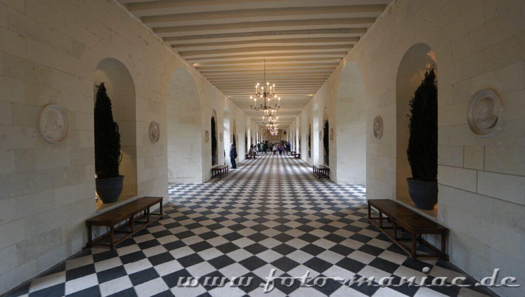 60 Meter lang ist die Galerie von Schloss Chenonceau