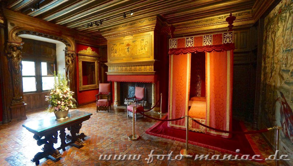 Ein Schlafgemach im Chateau Chenonceau