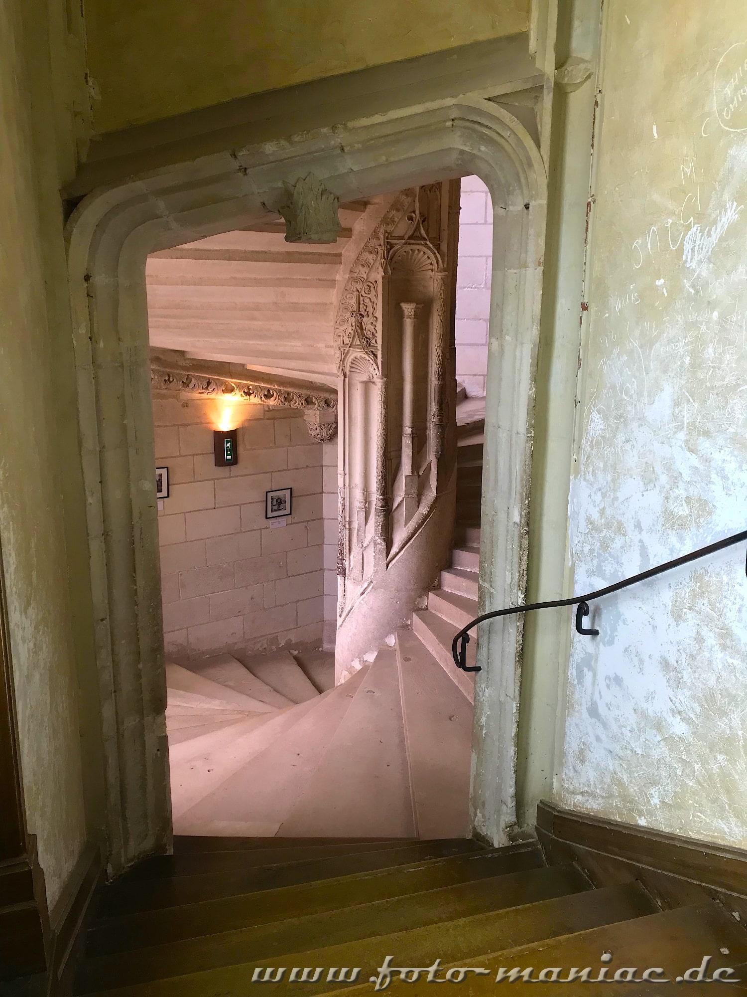 Wendeltreppe im burgähnlichen Chateau Chaumont