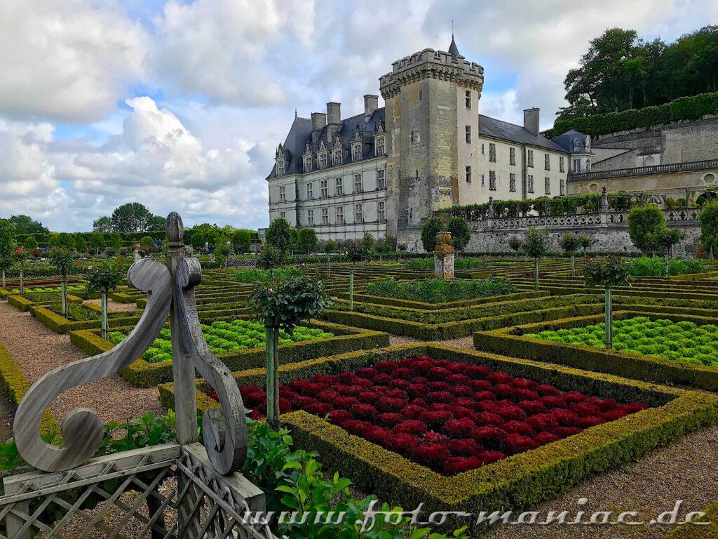 Akkurat gestaltete Gemüsebeete im Garten vom malerischen Chateau Villandry
