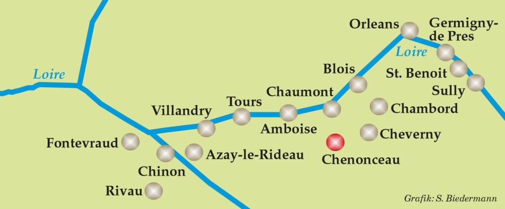 Karte Loire-Schlösser
