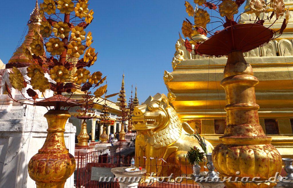 Tempel-Hopping in Bagan - Prächtige Dekorationen rund um die Shwezigon Pagode