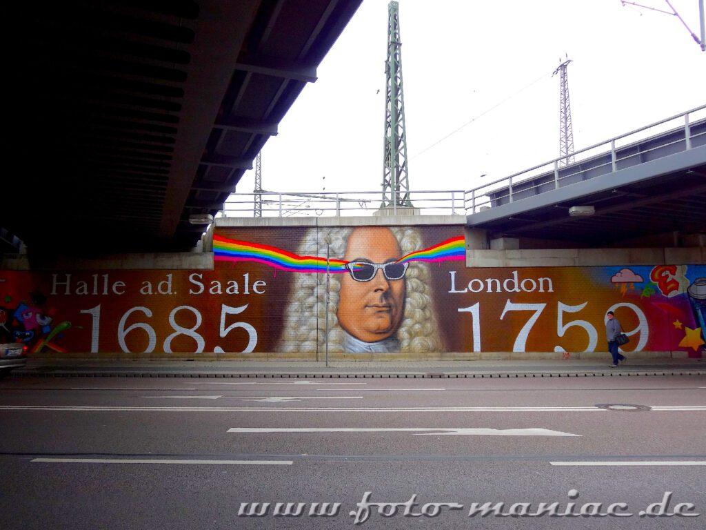 Händel-Graffito mit den Städtenamen Halle und London
