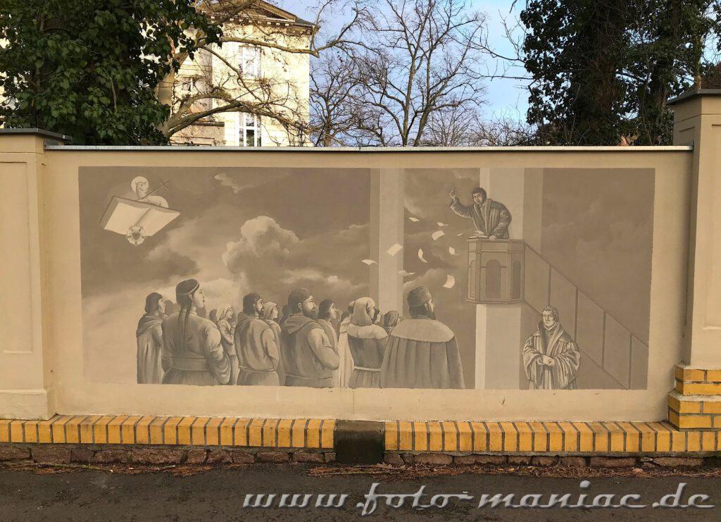 Wandbild: Luther predigt von der Kanzel vor Bürgern
