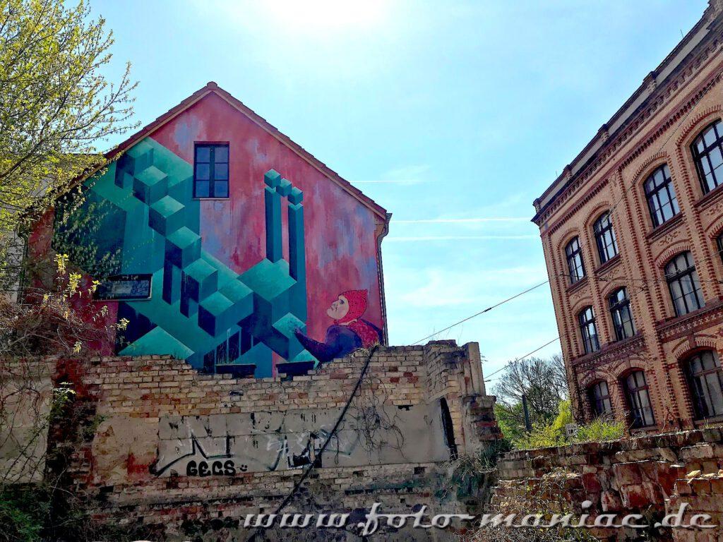 3D-Graffiti an Giebelwand