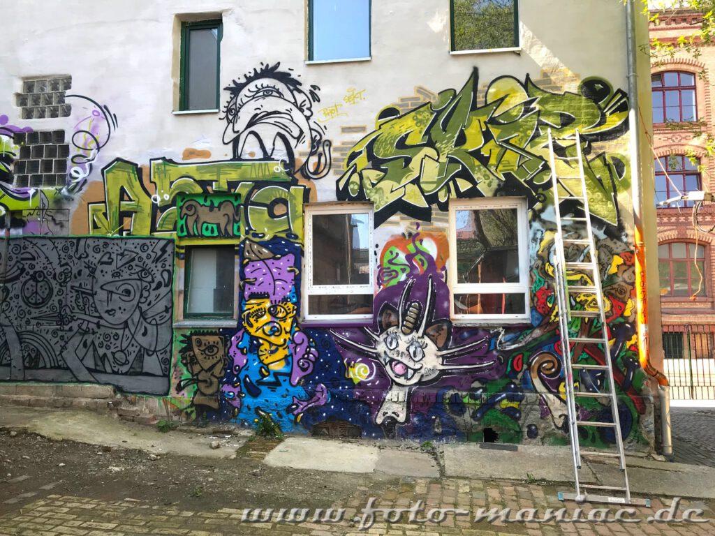 Eine Leiter steht vor einer Graffito-Hauswand