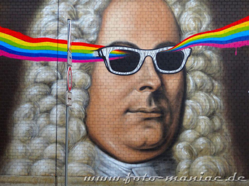 Schöne Graffiti in Halle - dazu gehört auch ein Bild von Händel
