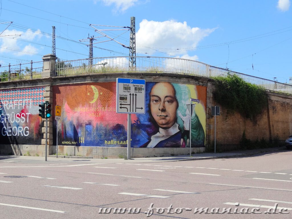 Graffito-Porträt vom jungen Händel auf einer Mauer