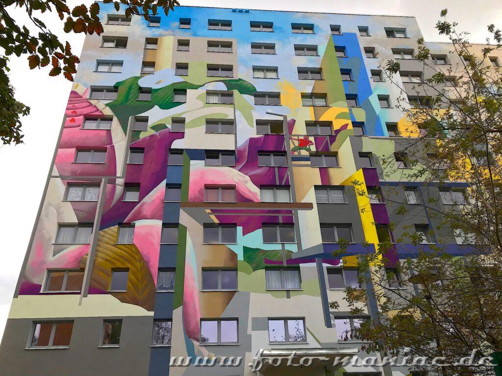 Schöne Graffiti in Halle - Mural auf Plattenbau