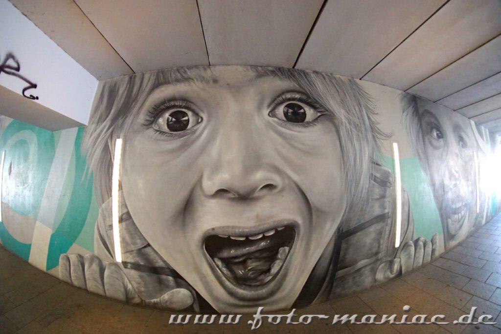 Schöne Graffiti in Halle - eins zeigt ein schreiendes Mädchen