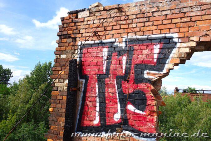 Graffito auf Mauerrest