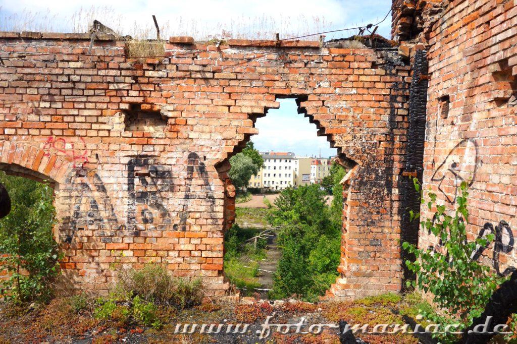 Blick durch Mauerloch der verlassenen Spritfabrik in Halle auf ein Gebäude