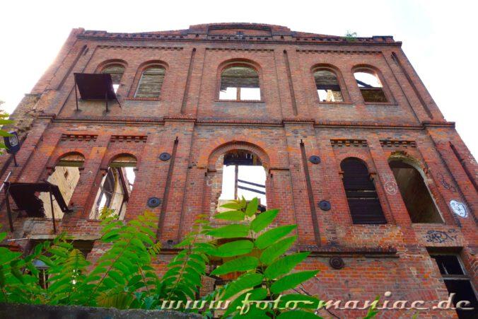Nur die Mauern eines Gebäudes der verlassenen Spritfabrik in Halle stehen noch