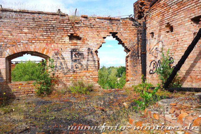 Marodes Mauerwerk in der verlassenen Spritfabrik in Halle