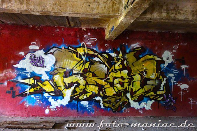 Graffito an einer Putzwand