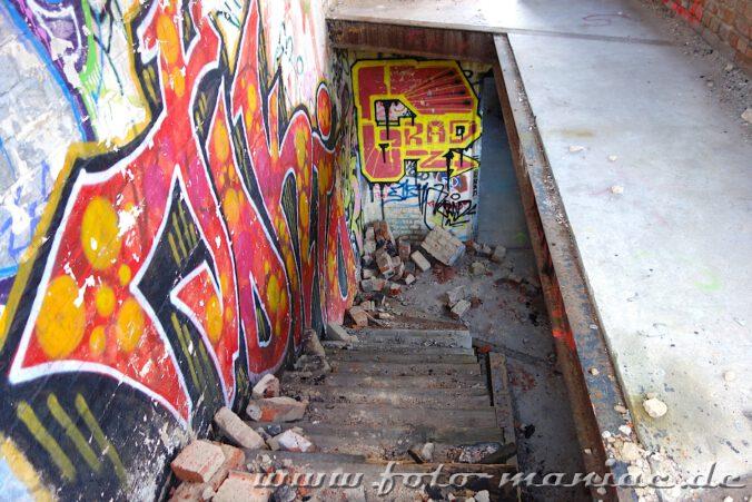 Blick von einem Treppenabsatz nach unten