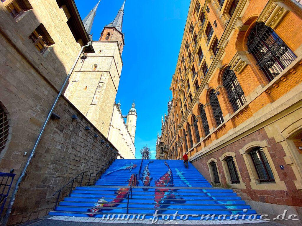 Streetart-Kois schwimmen eine breite Treppe runter
