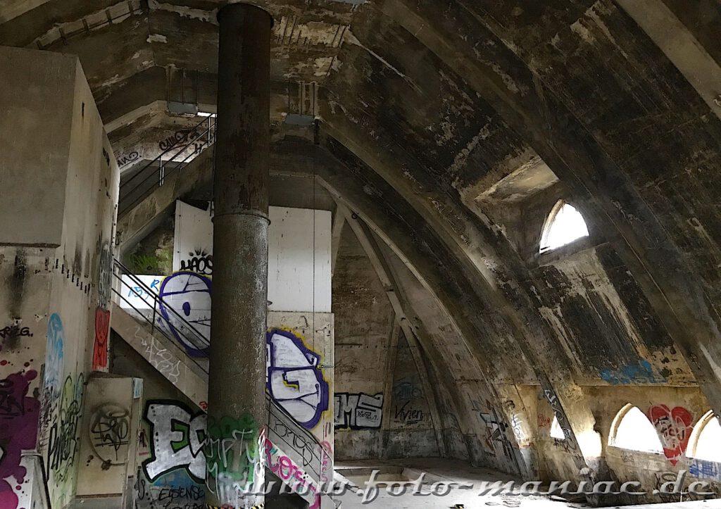 Tonnenförmiges Gewölbe in der verlassenen Brauerei Sternburg
