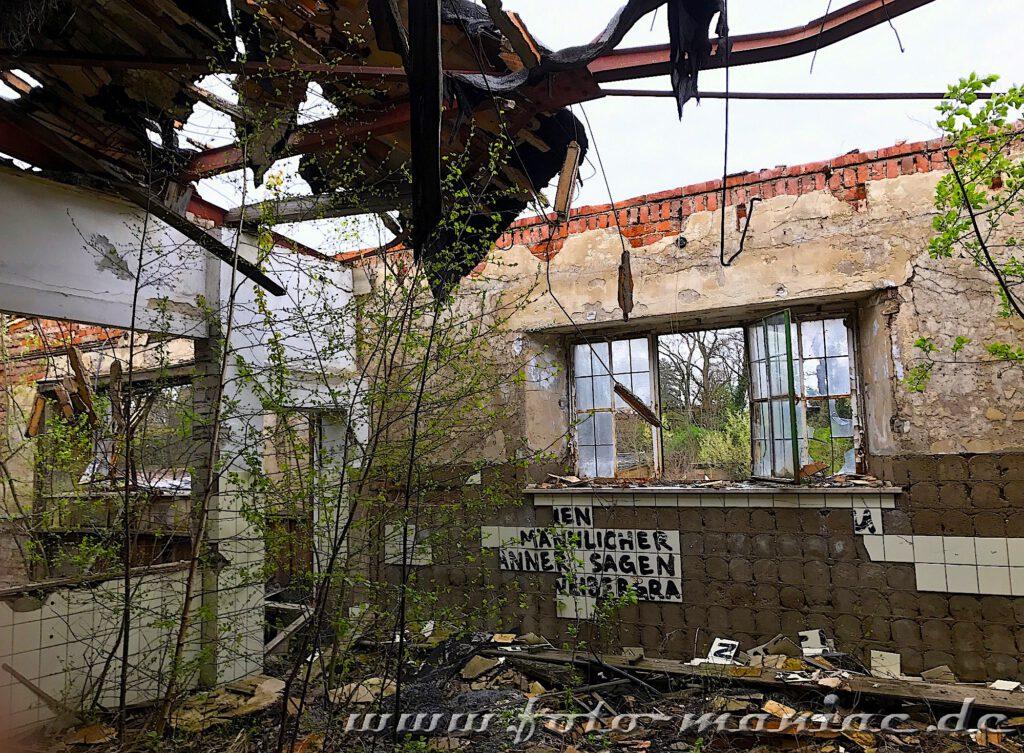Reste vom Dach hängen über einem Gebäude der verlassenen Brauerei Sternburg