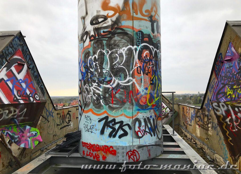 Graffiti auf dem Dach der Brauerei