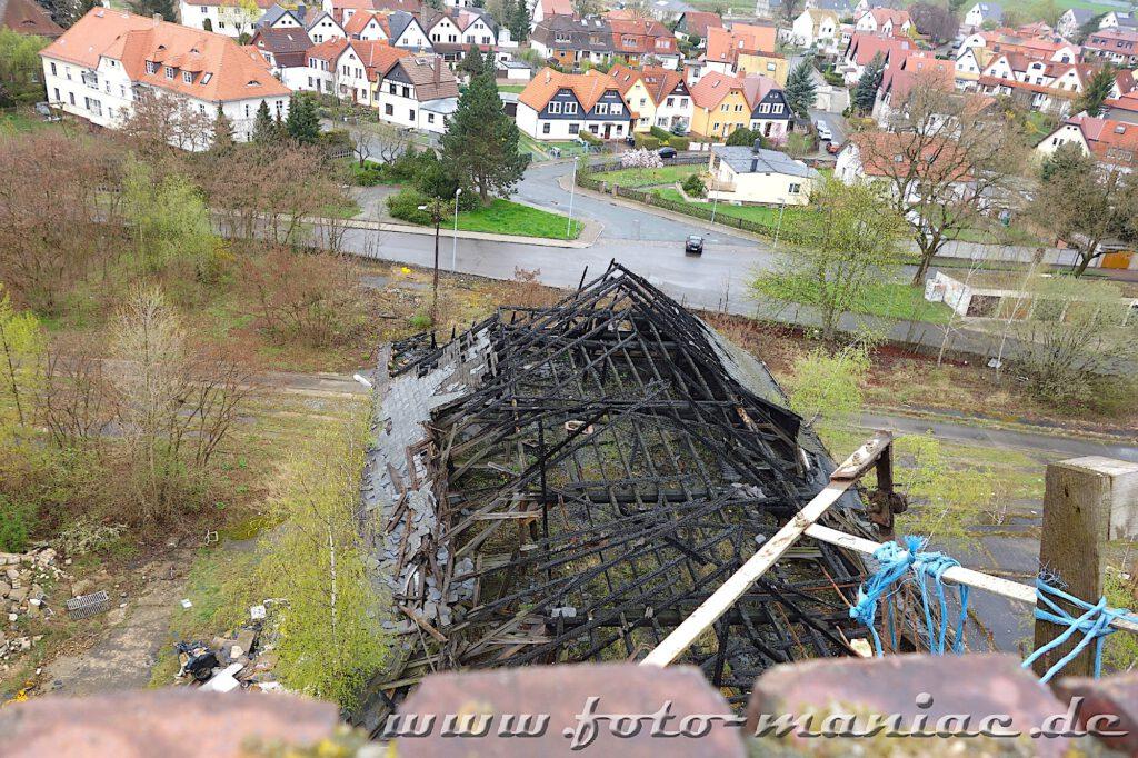 Durch Feuer zerstörtes Gebäude der verlassenen Brauerei Sternburg