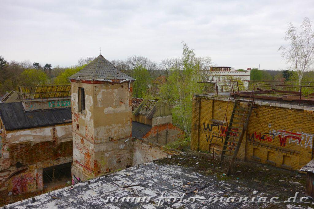 Vom Dach der Brauerei sieht man das ganze Ausmaß der maroden Bierfabrik