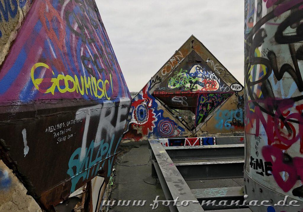 Graffiti auf dem Dach der verlassenen Brauerei Sternburg