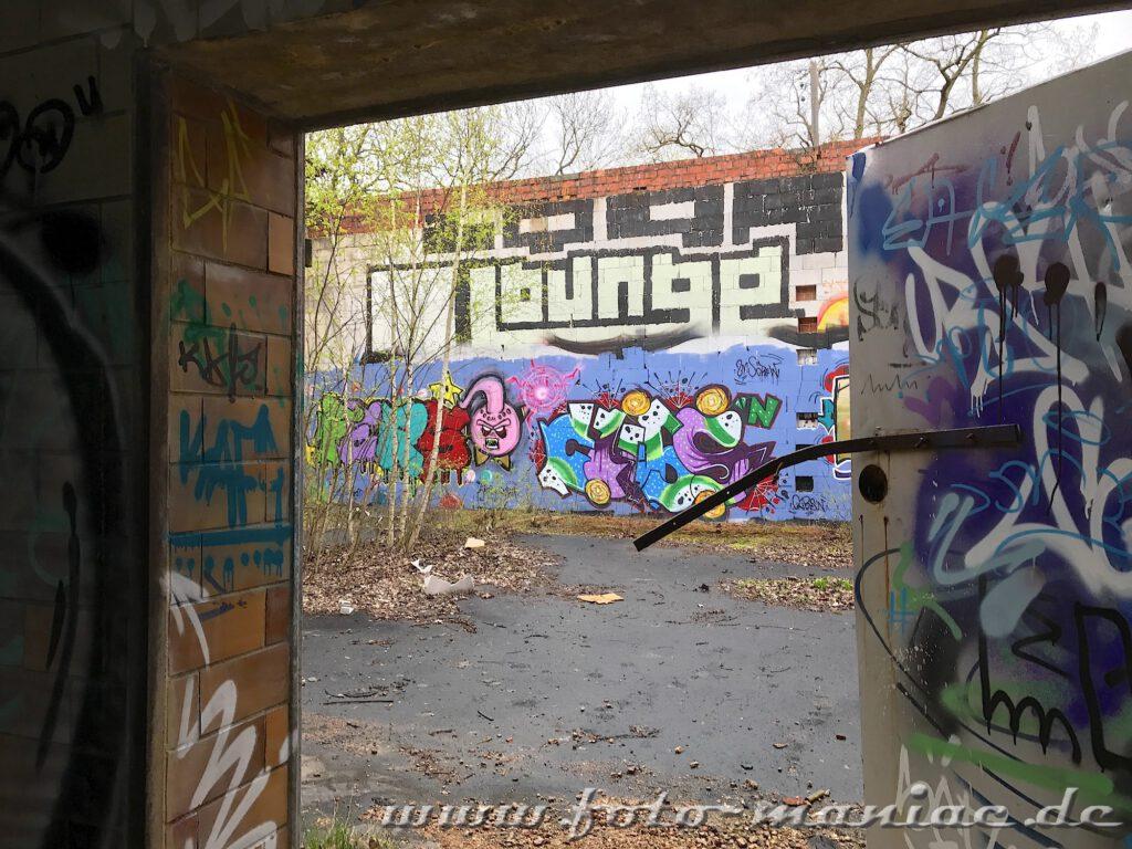 Buntes Graffito an der Wand