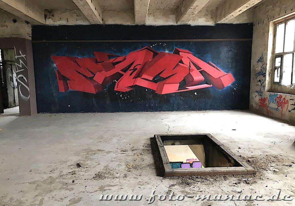 Graffiti in eine Produktionshalle der Brauerei Sternburg