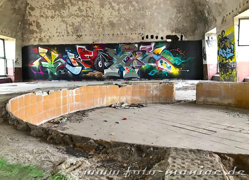 Graffiti-Wand in einer Produktionshalle der verlassenen Brauerei Sternburg