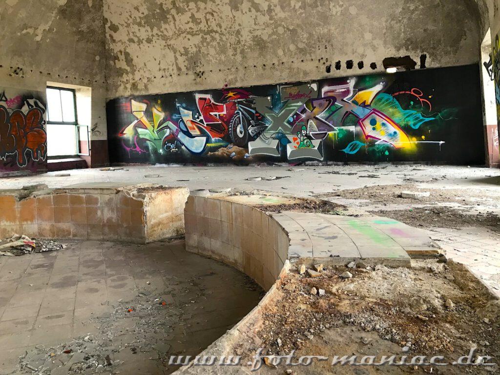 Graffiti an einer Wand in der verlassenen Brauerei Sternburg