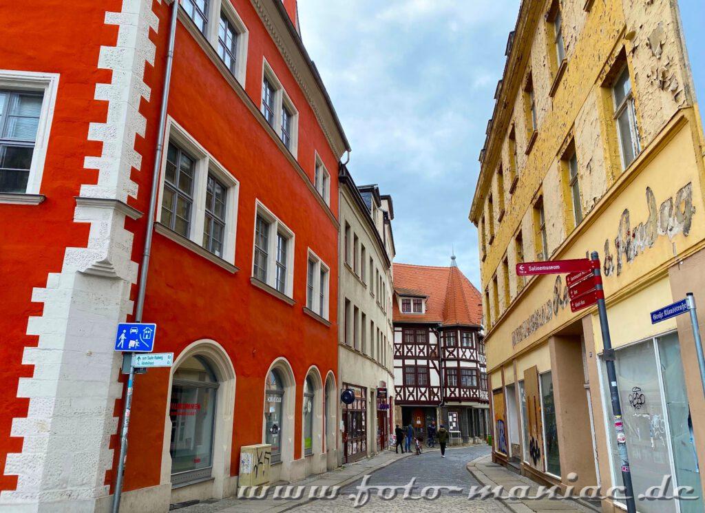 Blick in die Große Klausstraße ist eine Empfehlung, wenn man nach fotogenen Ecken in Halle sucht