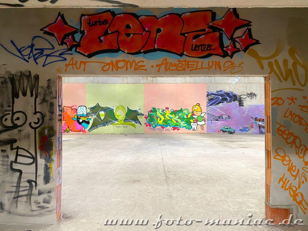 Blick auf das Graffito mit der Zahnfee