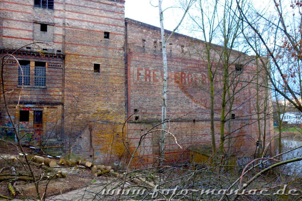 Blick auf eine Seitenwand der alten Freyberg-Brauerei in Halle