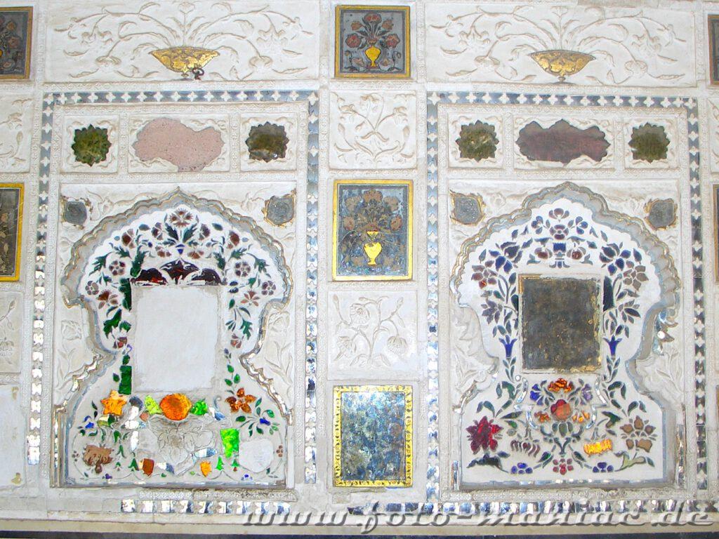 Bustour durch Indien - Spiegelsaal im Fort Amber