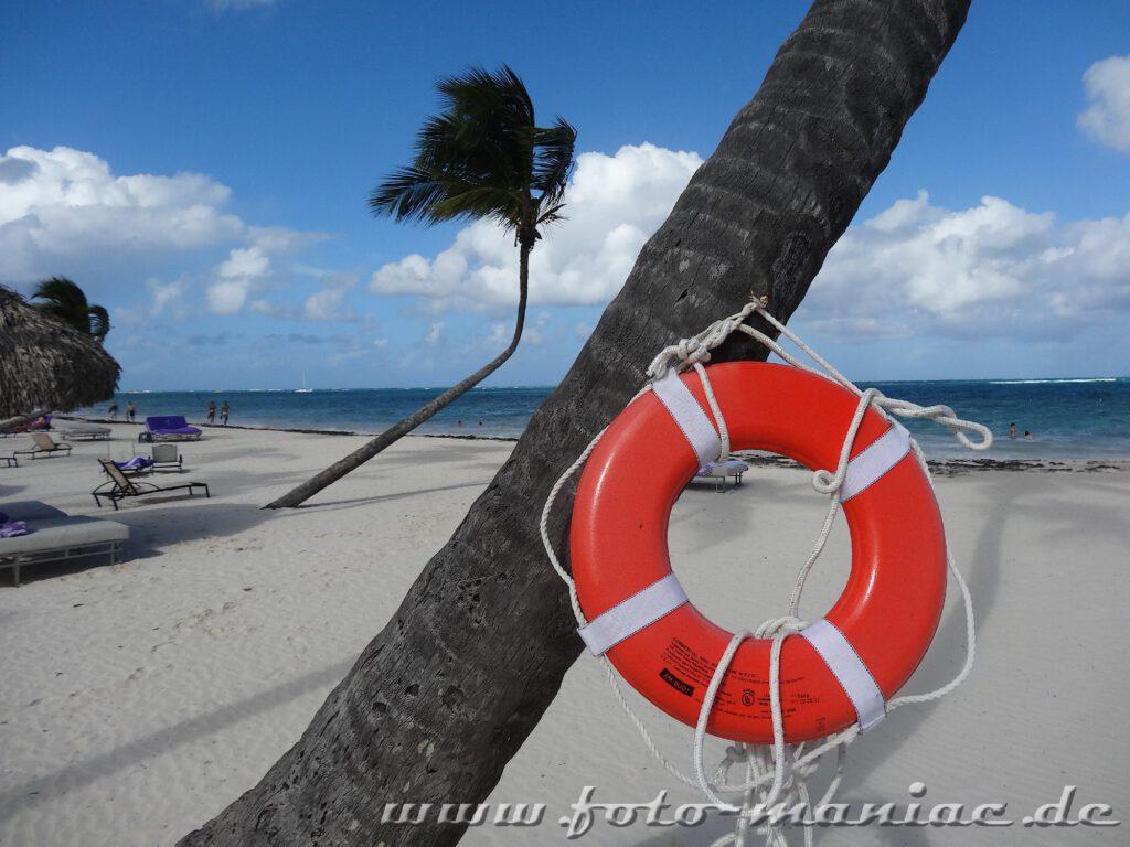 Rettungsreifen an einer Palme im Paradies in der Karibik