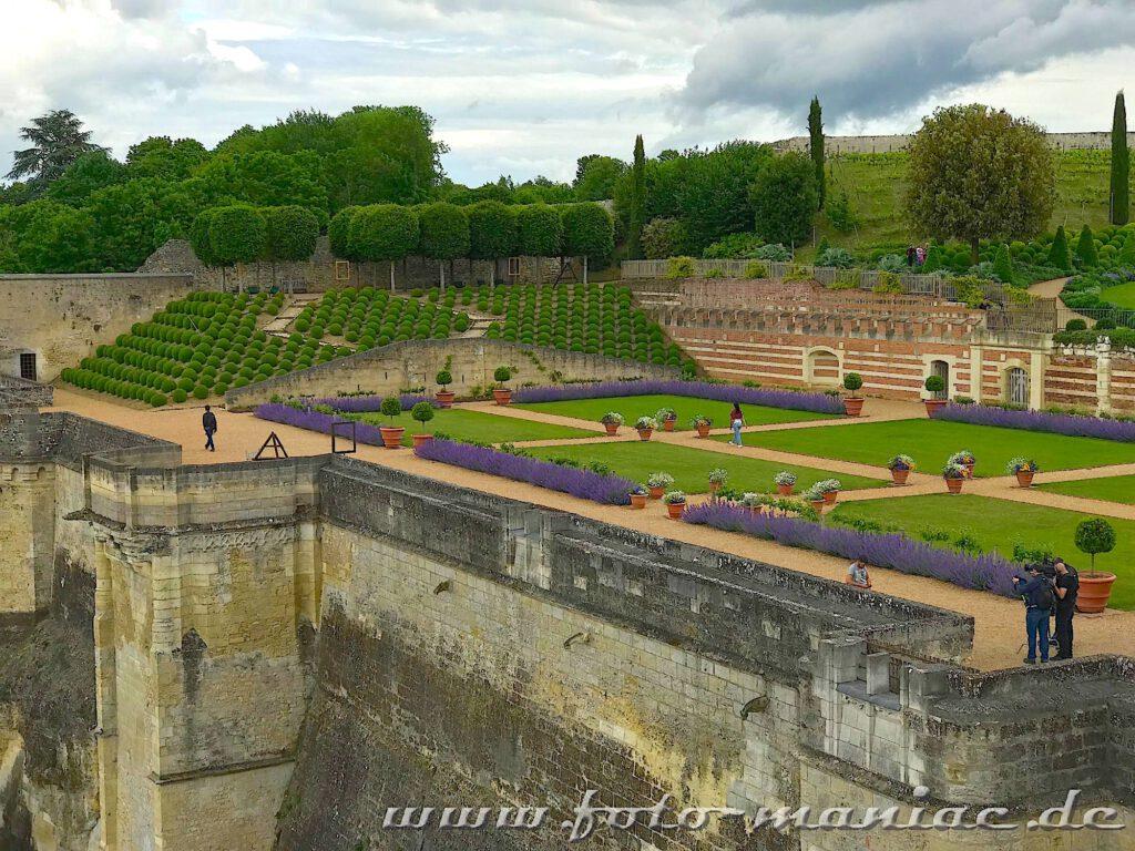 Blick in den Garten von Schoss Amboise