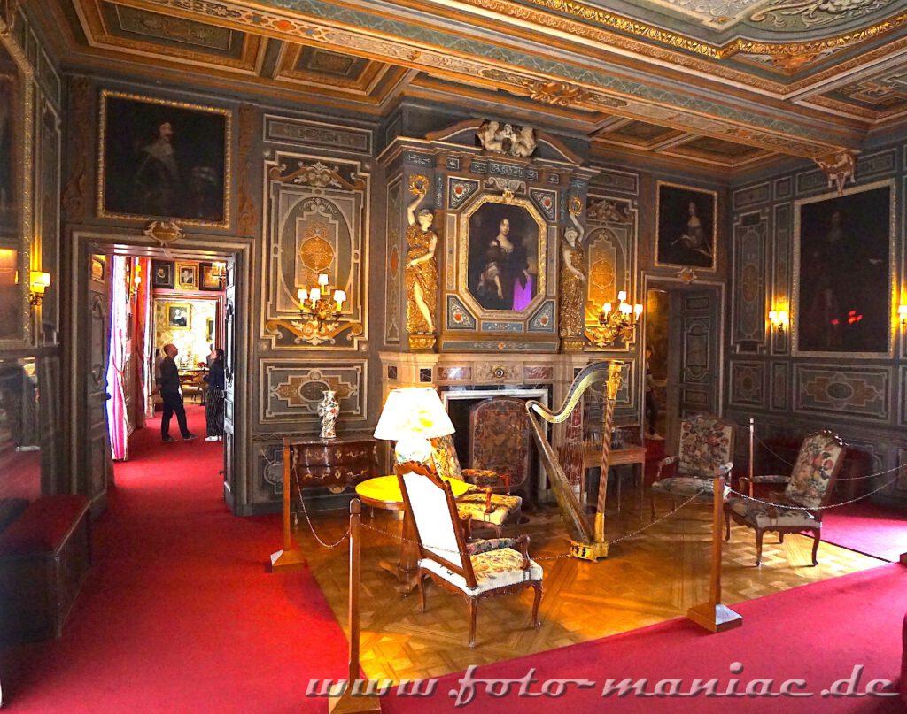 Das reizvolle Chateau Cheverny hat auch einen prächtigen großen Salon