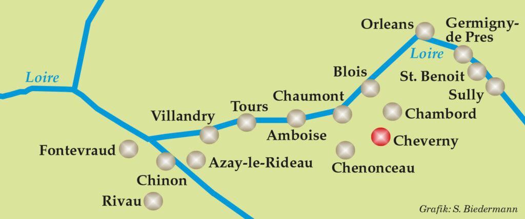 Grafik der Loire-Schlösser: Cheverny